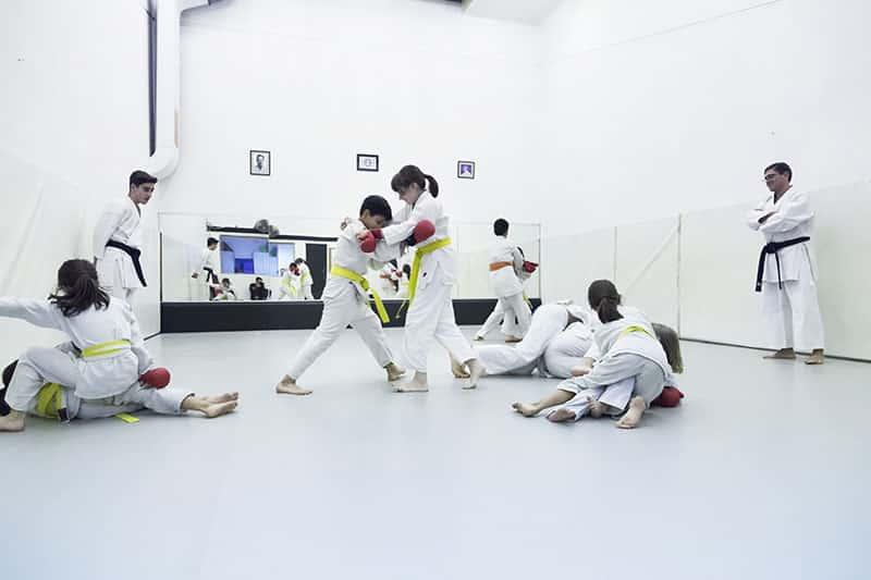 Técnicas de karate de niños