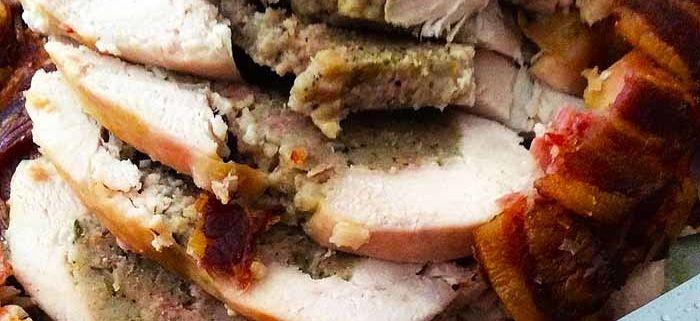 Pollo relleno de gorgonzola y pasas