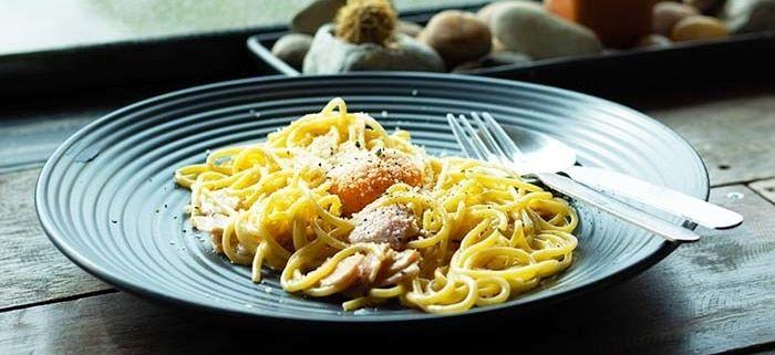 Spaguettis de calabaza a la carbonara